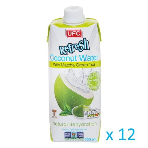 UFC Refresh Coconut Water mit Matcha Grüntee, Carton 12x500ml